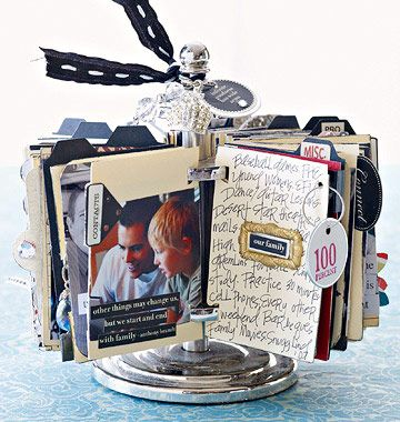 Spinning Album - Incorporate an array of unrelated -- but meaningful -- photos into one memento. This spinning album features more than 100 photos. Fill it with a year's worth of unforgettable moments, everything from baseball games to piano recitals.          Lighten up: Opt for embellishments that are not bulky. Use paper punches to create layered designs, such as paper flowers and tags.