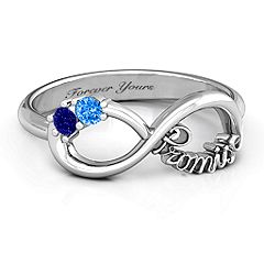 The 'Two Stone Promise Infinity Ring' - add your birthstones and a special engraving. #promisering #infinityring #jewlr