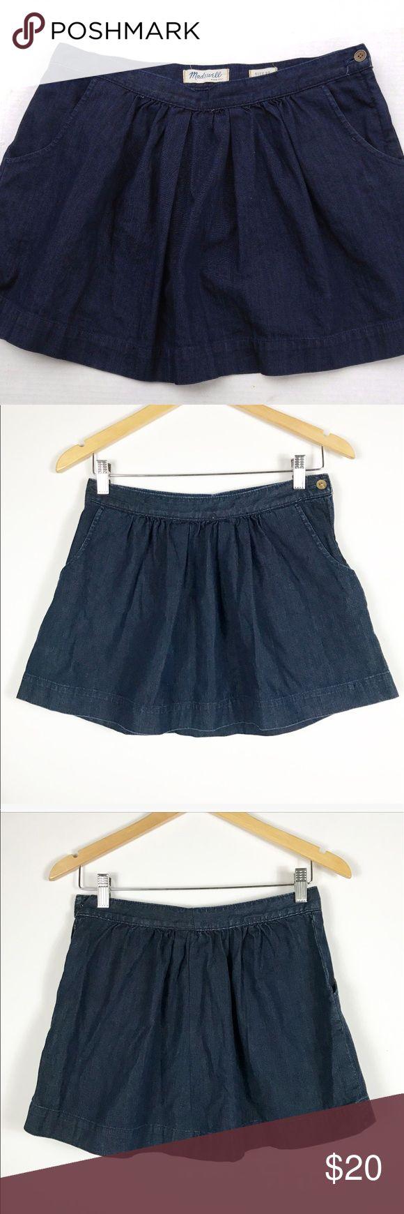 "Madewell denim pocket skater skirt 6 Madewell denim pocket skater skirt. No size tag but measures approx 14""w 14"" long laying flat. (6) Great condition! Madewell Skirts Mini"