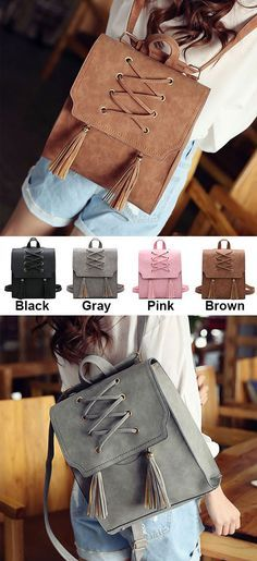Retro Tassels Flap Square Weave Gray Leisure Girl's Cross Bandage Travel Backpack for big sale! #cross #tassel #retro #large #scrub #school #college #student #bag #backpack #cute #fashion #nice #travel