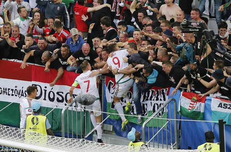 Szalai raced right over to the rapturous Hungary support and leapt towards the fans after giving his nation the lead against Austria
