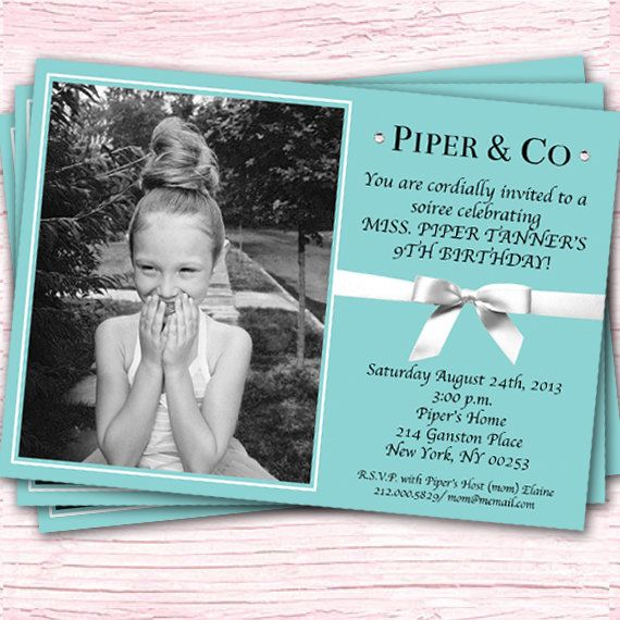 Tiffany's Invitation - TIffany & Co - Breakfast at Tiffany's - Inspired Invitation - Custom Photo Printable Design