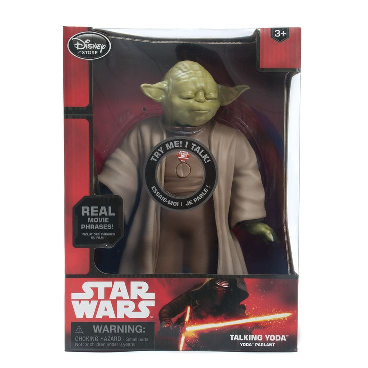 Yoda Talking Figure - 10'' - Star Wars: The Force Awakens. Fully articulated, finely detailed sculptured figure. Press button on belly to activate lightsaber, movement and sound. Speaks more than 15 phrases. Light-up lightsaber. Soft sculptured robe.