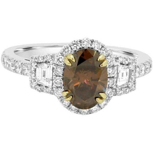 Preowned Natural Oval Cognac Diamond Halo Two-color Gold Engagement... ($7,780) ❤ liked on Polyvore featuring men's fashion, men's jewelry, men's rings, bridal rings, multiple, mens 14k gold rings, mens engagement rings, mens yellow gold diamond rings and mens gold rings