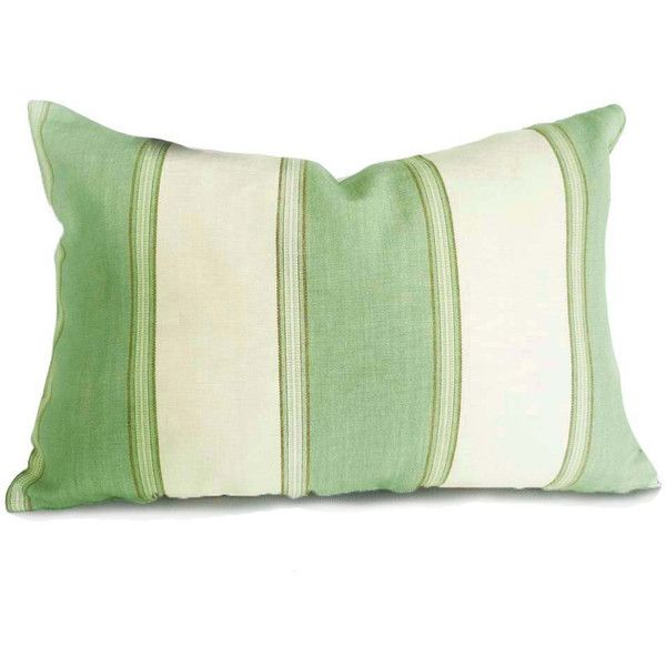Green Cream Pillows Striped Throw Pillow Covers Coastal Cushions Sea... (36 CAD) liked on ...