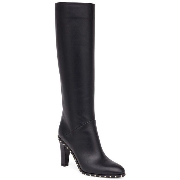Valentino Garavani Soul Studded Leather Tall Boots (77.340 RUB) via Polyvore featuring shoes, boots, side zipper boots, tall leather boots, leather boots, black boots и black leather boots