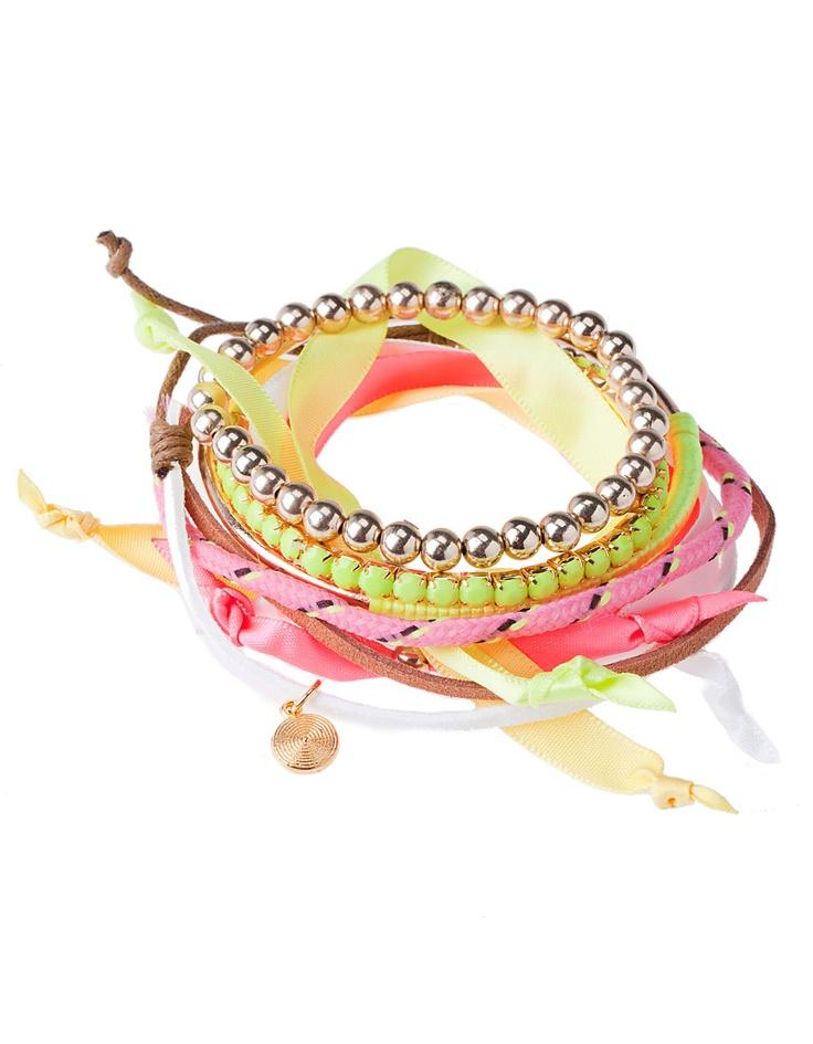 Set of six multicoloured ribbon bracelets