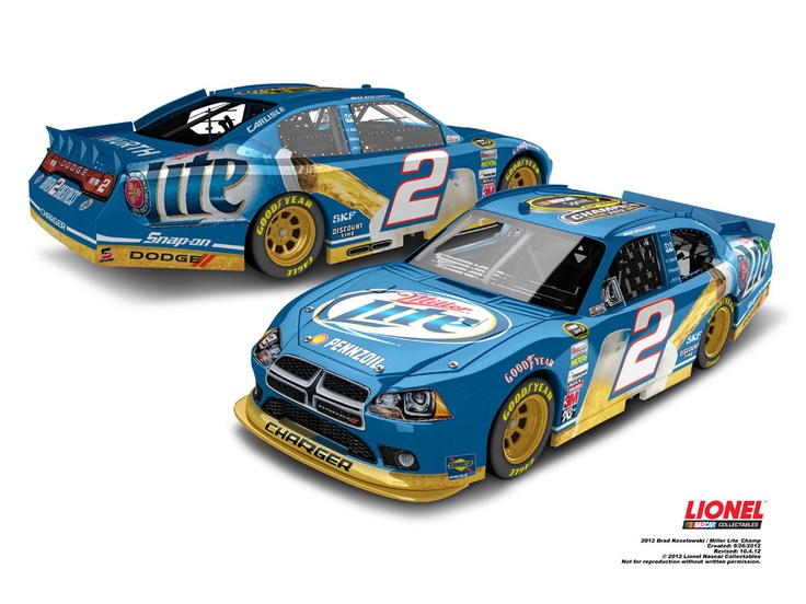 The Champ die-cast of Brad Keselowski's No. 2 Miller Lite Dodge is now available to order. Just visit www.lionelnascar.com, the NASCAR Superstore or your hometown die-cast dealer.