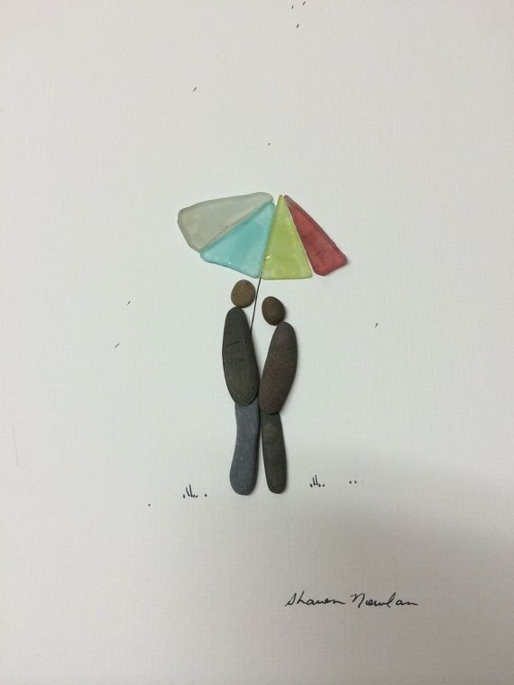 Couple under the umbrella by PebbleArt on Etsy