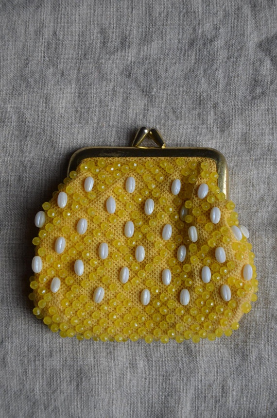 Yellow and White Vintage Beaded Coin Purse by Woolbridge on Etsy, $12.00: