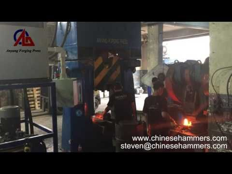 31 5KJ CNC hydraulic die forging hammer, PLC forging hammer forged hooks - YouTube