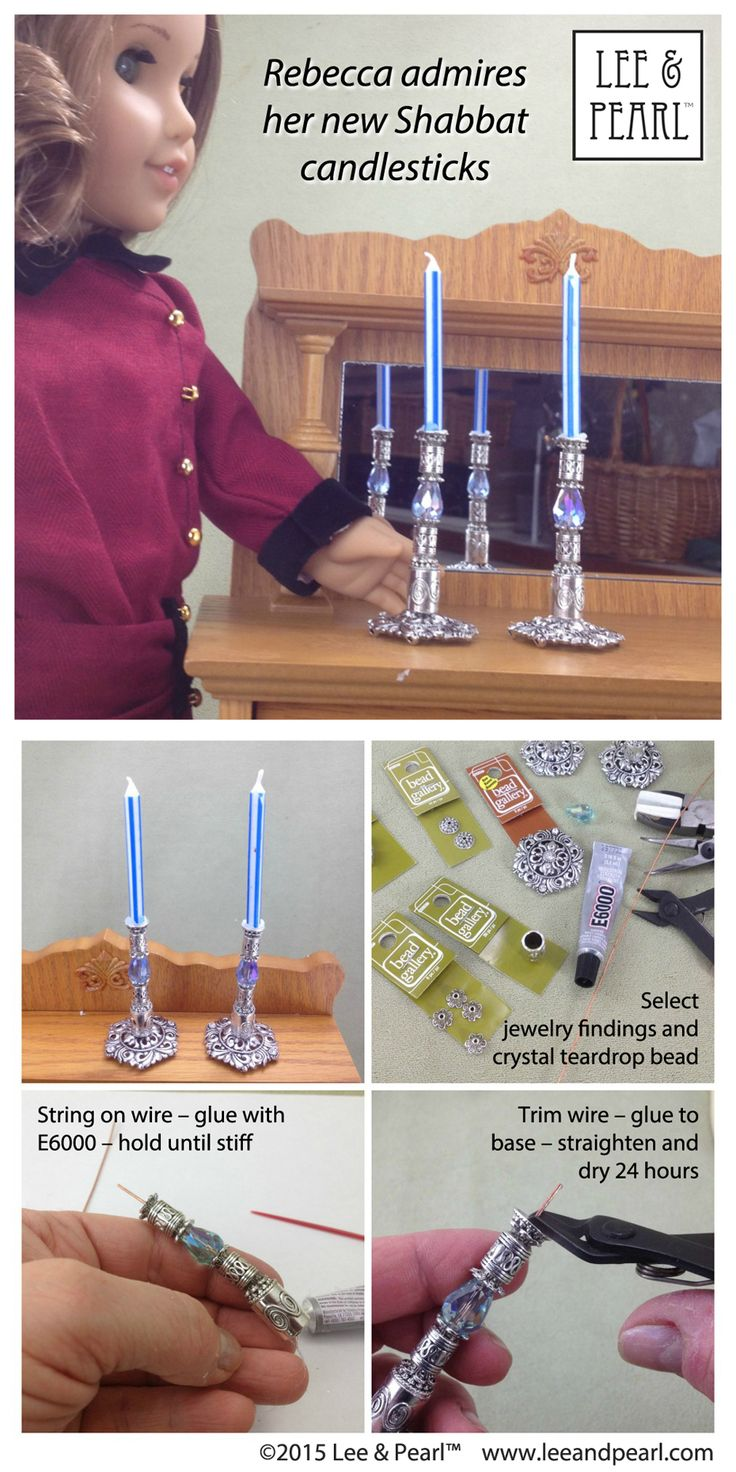 "Make these beautiful ""silver"" candlesticks for American Girl® doll Rebecca Rubin® using jewelry findings, wire and E6000 glue. Gut Shabbos, Rebecca!"