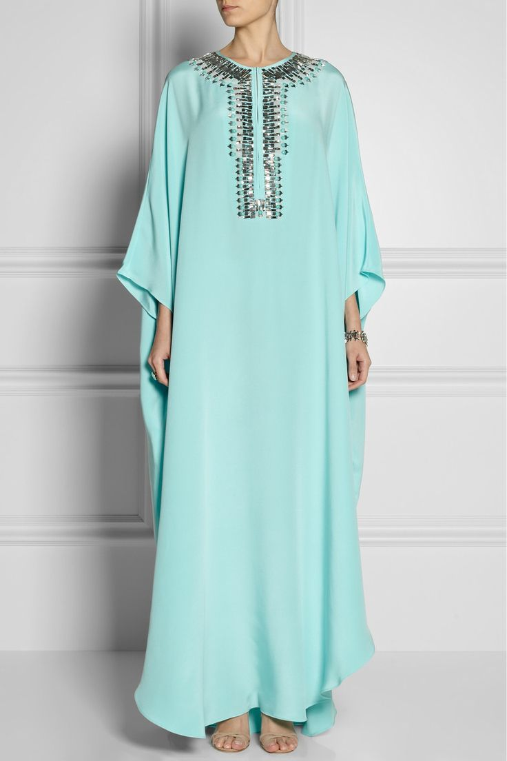 Emilio Pucci|Embellished silk-cady kaftan-style gown|NET-A-PORTER.COM
