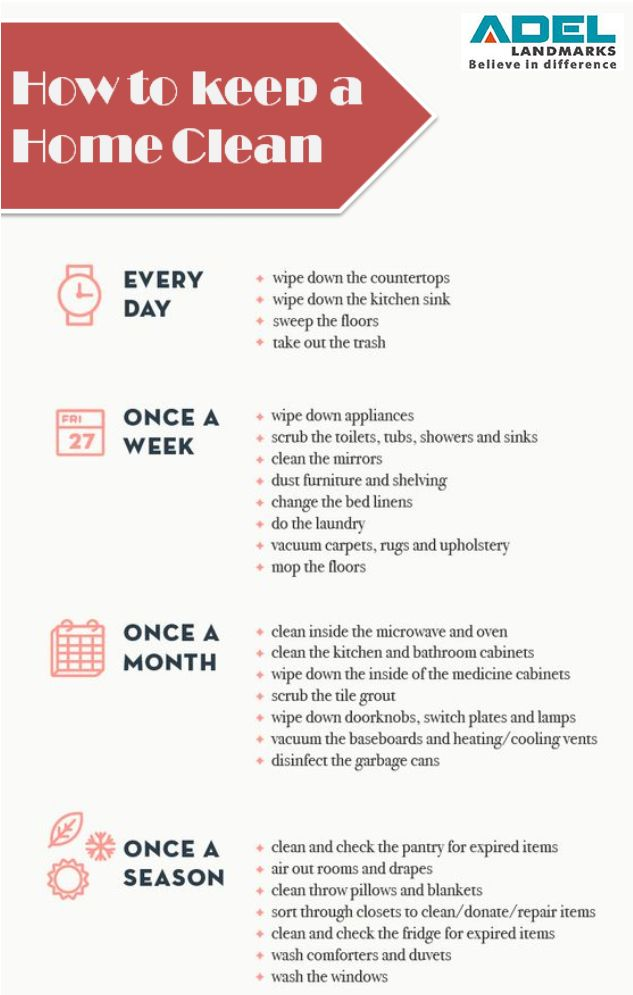 Simple whole-house cleaning schedule. #checklist #cleanhome #residence #property #realestate #adellandmarks #adellandmarkslimited