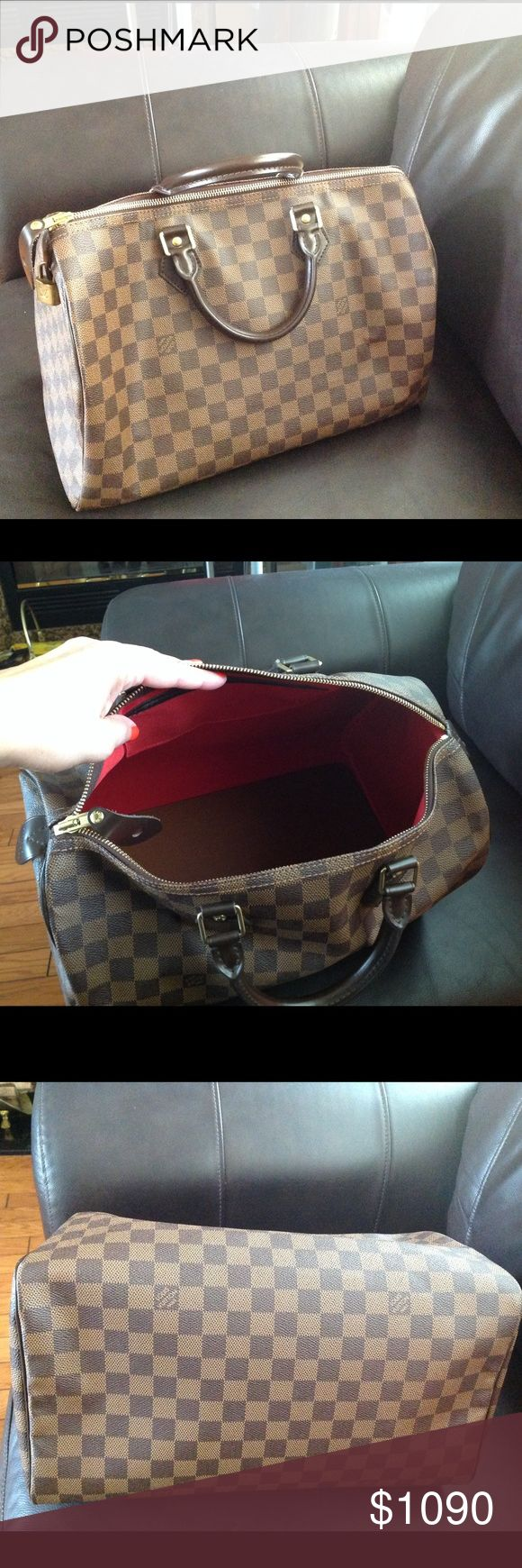 HP!100% Authentic Louis Vuitton Speedy 40 100% Authentic Damier speedy 40 *base shaper is included* adds form to your Louis Vuitton bag by creating a solid and lightweight base for your speedy 40. *lock & key is included* *dust bag & box is included* Louis Vuitton Bags