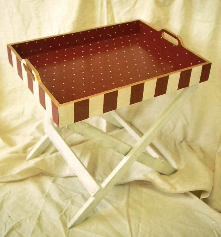 Hand painted tray table - counter-height