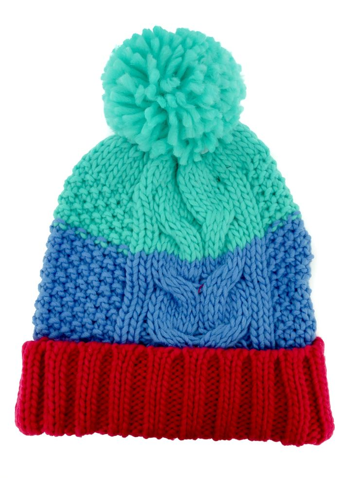 Soothers Girls Pom Beanie Warm Ribbed Knit Hat - Red/Green. Stretch Girls Multicolored Pom Pom Beanie Winter Hat. Warm Winter Knitted Ribbed Hat. Vibrant Colors. Machine Wash - No Bleach. 100% Acrylic.