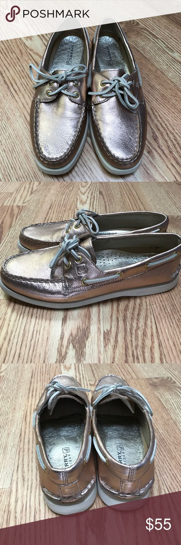 Rose Gold Sperry's Rose gold Sperry's perfect for Spring! Only worn once and in great condition. Metallic leather upper, leather lining, rubber sole. Sperry Top-Sider Shoes Flats & Loafers