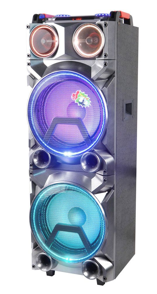 PowerRMS80W 2 12 Subwoofer2 3 Tweeter1 DC 12V Power Supply 4 7 A Battery With Colorful LED Light 5 Equalizer 6 USBSD FM