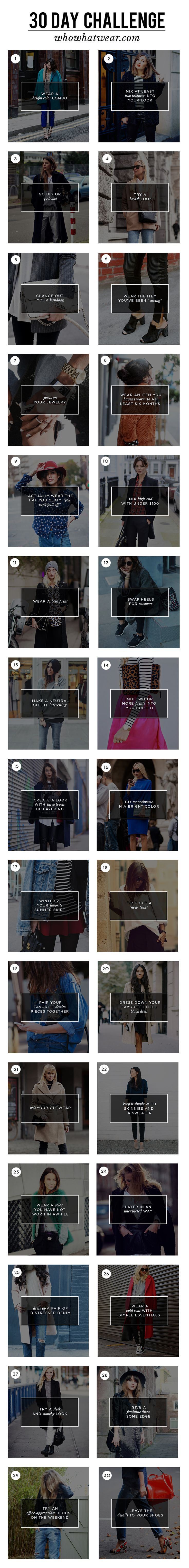 Who What Wear's 30-Day Wardrobe Challenge: A different daily style challenge to change the way you look at your wardrobe and invigorate your dressing over the next 30 days. // #WWWStyleChallenge