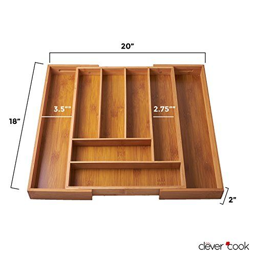 Amazon.com Clever Cook Bamboo Cutlery Utility Drawer Organizer. 12.75-20w x 12.75d