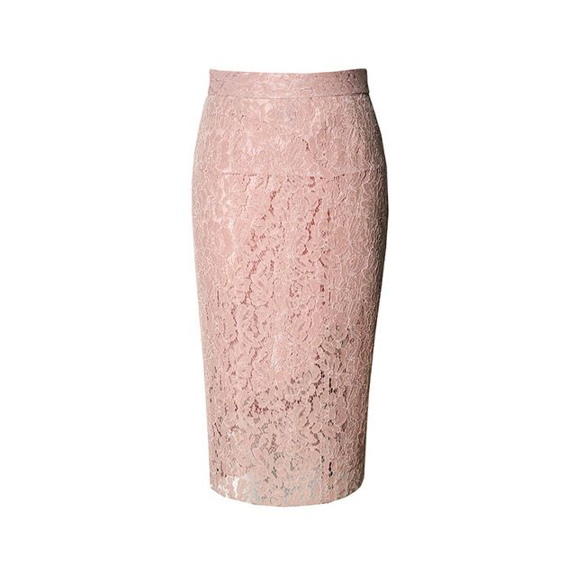 Женщины кружевные юбки сплошной розовый карандаш длиной до колена юбки высокая талия 100% натурального шелка lining моды под la falda 2017