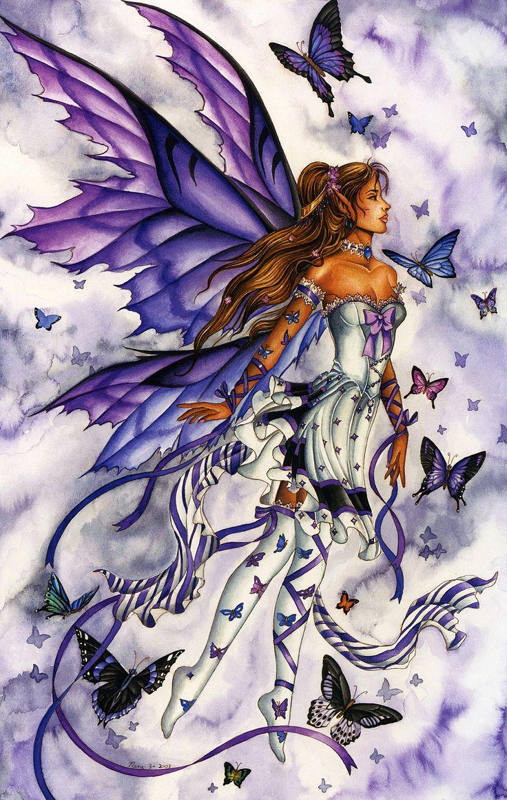 Nene Thomas Ceramic Tile Art -- Lavender Serenade Fairy