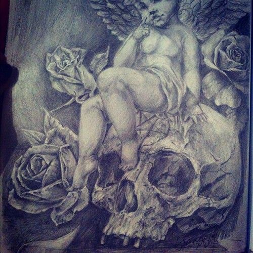 Sketch Tattoo Skull Rose Angel Cherub Pentagram Draw Drawing