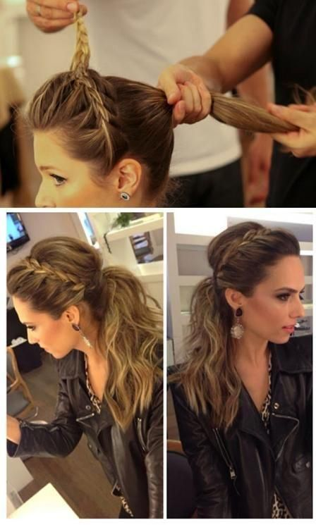 Braided ponytail. Doing this on my sisters hair for the hedley concert because I don't when long enough hair..