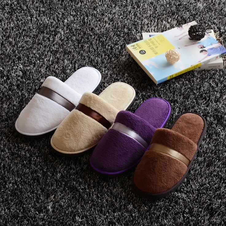 Luxury non disposable home hotel massage travel slippers coral fleece thicker slip-resistant house indoor men women winter warm