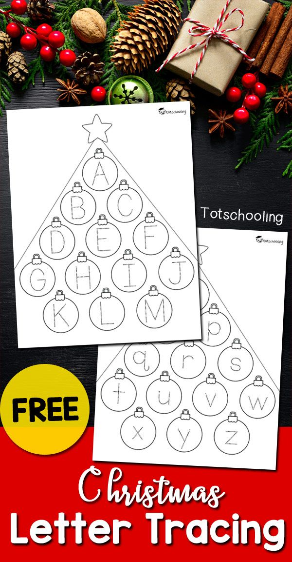 FREE Christmas alphabet tracing worksheets for pre-k and kinder kids to practice handwriting skills. Kids can also color the pages after tracing. A cute, no-prep activity for the holidays!