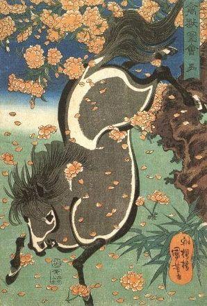 <禽獣図会 馬 : KINJUZUE UMA> HORSE KUNIYOSHI UTAGAWA 1798-1861 Last of Edo Period