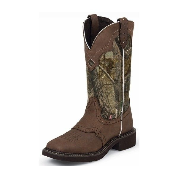 Justin Gypsy Womens Square Toe Cowboy Boots Camo/Brown ($97) ❤ liked on Polyvore featuring shoes, boots, cowboy boots, camo cowgirl boots, leather cowgirl boots, square toe cowgirl boots, brown cowgirl boots and cowgirl boots