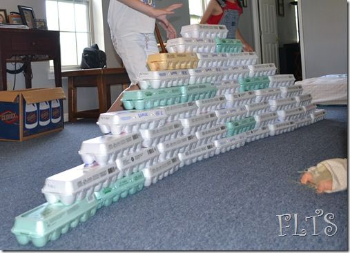 Build with egg cartons-- cool for a provocation or week long investigation. Egg cartons wouldnt hold up for much longer.