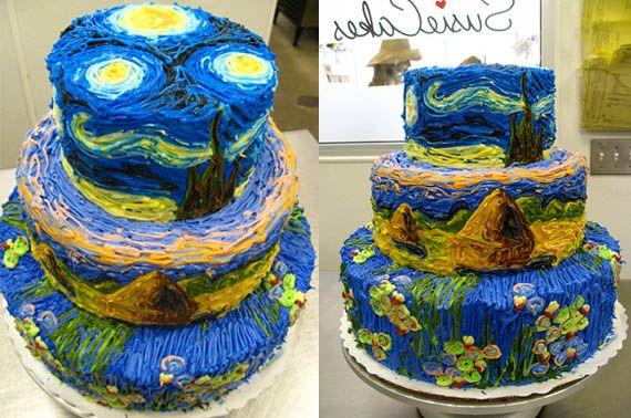 Van Gogh cakeImpressionist Cake, Gogh Cake, Gogh Starry, Cake Design, Vans Gogh, Starry Night, Cake Ideas, Designerartist Cake, Cake Art