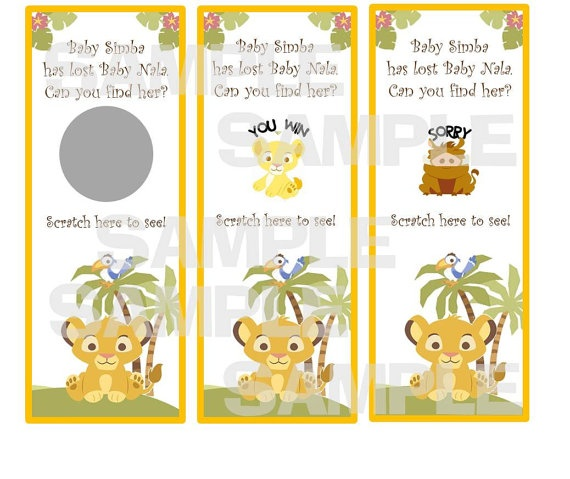 Simba LION KING Baby Shower scratch off tickets by myhtmdesigns, $8.99