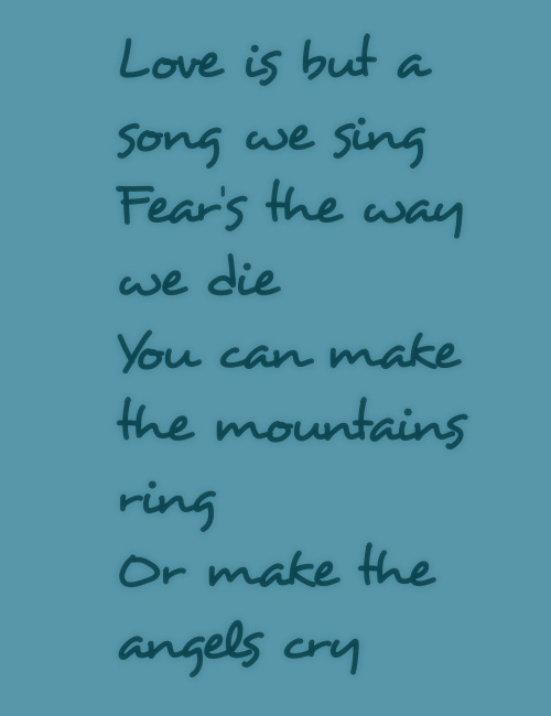 love is but a song we sing lyrics