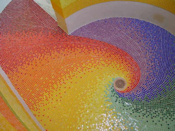 rainbow tile by Tesserae Mosaic Studio. http://design-milk.com/creative-tile-floors/