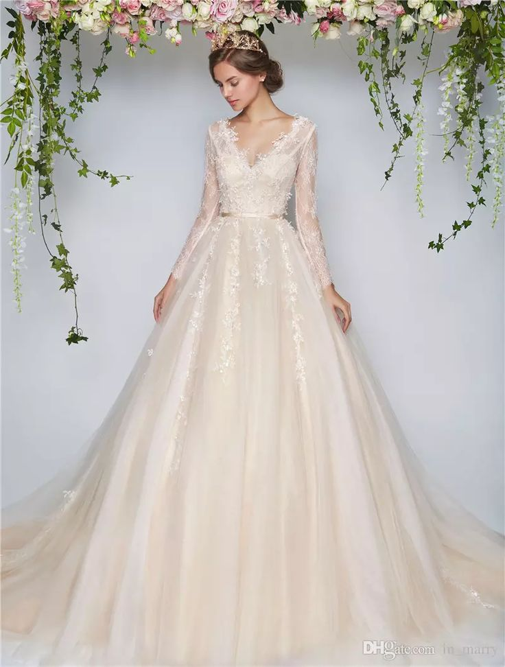 2017 Blush Beach Country Wedding Dresses A Line V-Neck Long Sleeves Vintage Lace…