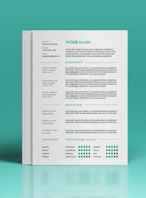 free resume template by ayoob ullah via behance - Free Professional Resume