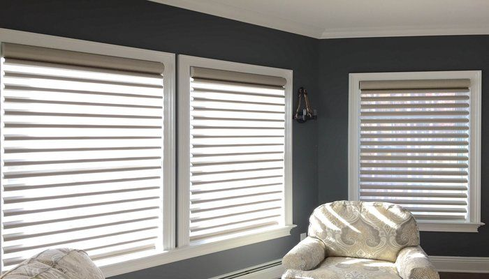 Dr. Shade Design of the Month:Hunter Douglas pirouette shades The client desired a window treatment to add visually dramatic flair to the room while maintaining a clean, ascetic look and a sense of warmth.