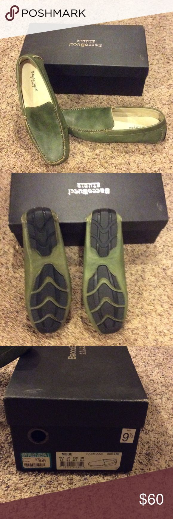 Men's driving loafer size 9.5 Brand new! Never worn. Olive green driving loafer by Bacco Bucci. Soft leather. Bacco Bucci Shoes Loafers & Slip-Ons