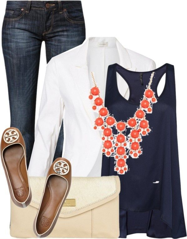 Jeans, flats, white blazer, navy top, pop of color coral necklace