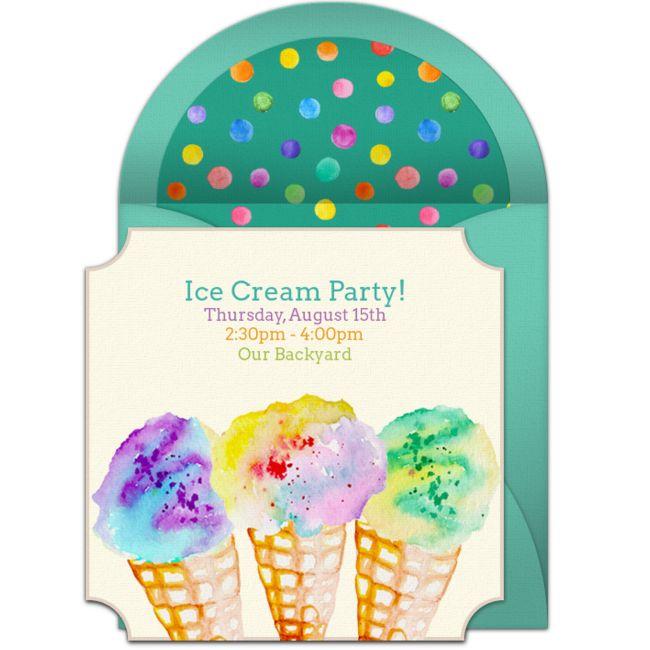 Free Ice Cream Watercolor Invitations In 2019