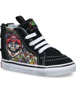 Vans | Sk8-Hi Zip Nintendo Mario & Luigi | Toddler Mario & Luigi, the two iconic Nintendo Super Mario Bros characters, combine in this amazing pair of toddler Vans kids shoes.