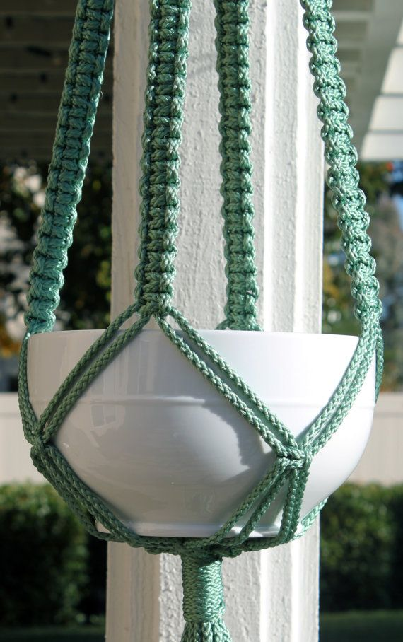 """Handmade Blue Green Teal Macrame Plant Hanger Holder with Wood Beads - CLASSIC - 6mm Braided Poly Cord """"Sage"""""""