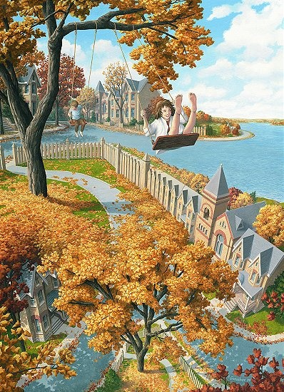 I love this painting by Rob Gonsalves, I get that thrilling acrophobic tickle in my belly... reminds me of how completely indulging in a playful thrill hyperbolizes reality into an amplified aggrandizement that explodes into an instant of super-reality!