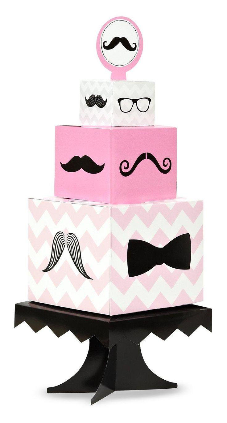 Pink Mustache Centerpiece from BirthdayExpress.com
