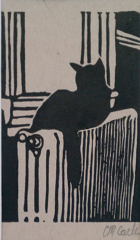 Black Cat in Window - linoleum block print - Christine