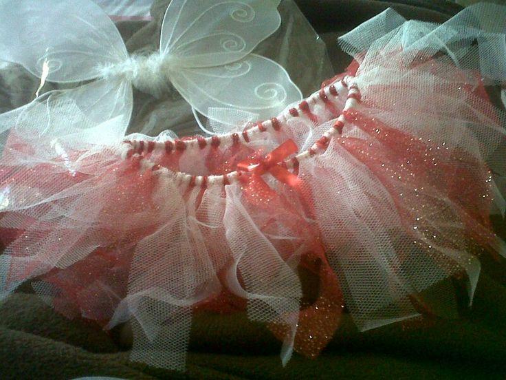 Red white angel tutu set